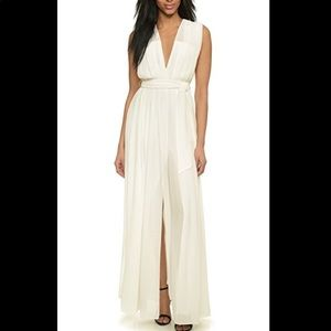 L'AGENCE Long Deep V Pleated Dress in White!